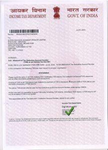 TAN Certificate